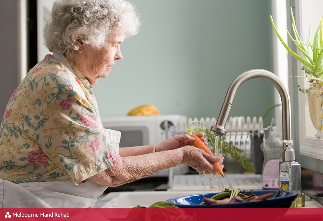 Older woman washing hands, Melbourne Hand Rehab blog image: Meet SARAH: Your helping hand with rheumatoid arthritis