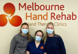Melbourne Hand Rehab staff wearing facemarks as part of our COVID-19 response.