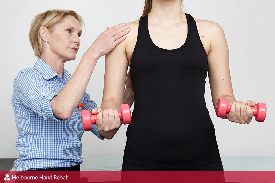 Equipment & techniques used in hand therapy - dumbbells