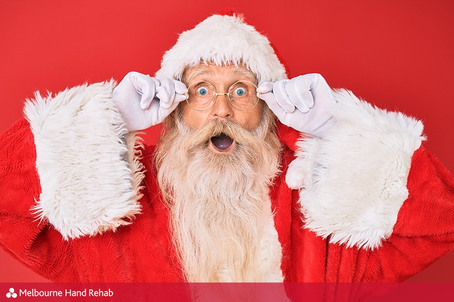Image of Santa with shocked look on his face
