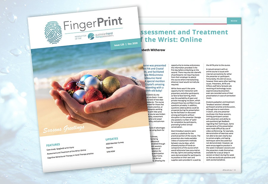 Image of front cover of AHTA Finger Print magazine featuring an article about Melbourne Hand Rehab's Wrist Course