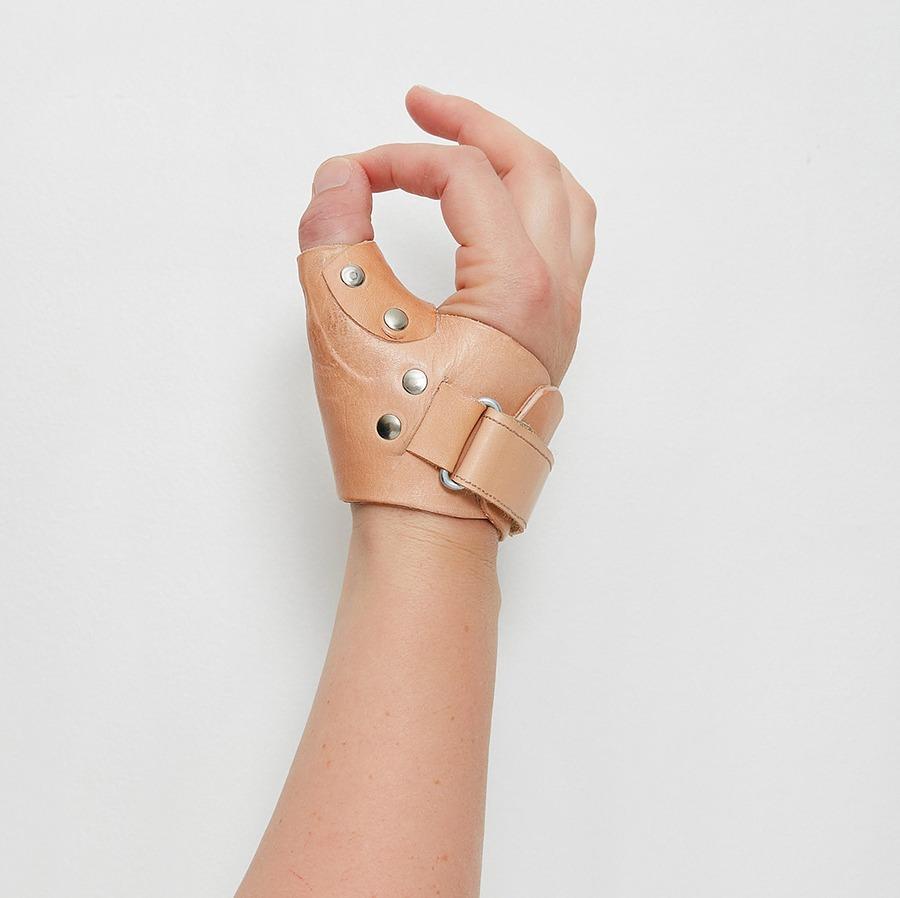 A Melbourne Hand Rehab custom made leather splint
