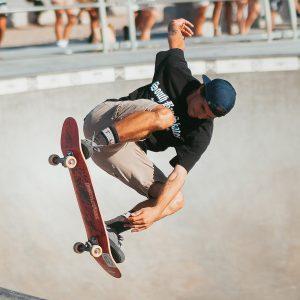 Skateboarder practicing at a skatepark